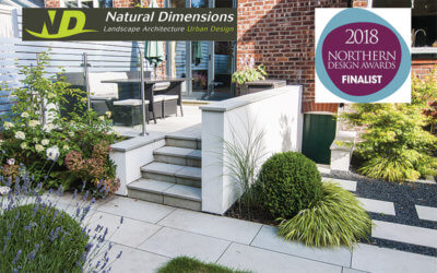 Natural Dimensions private garden design Northern Design Award Heaton Moor japanese forest grass raised patio stepping stones japanese maple box balls