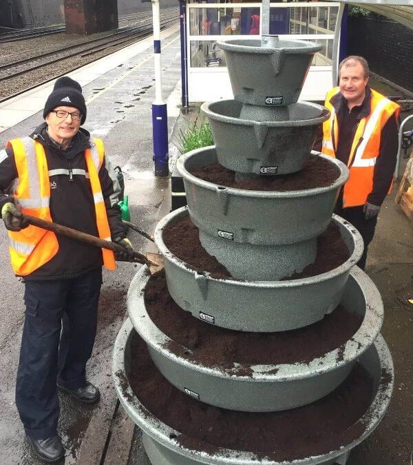 4HTA contribution to Friends of Heaton Chapel Station's new planter