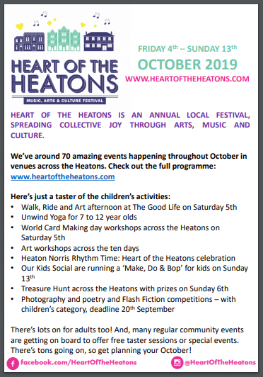 A sneak peek of the children's activities happening during Heart Of The Heatons!